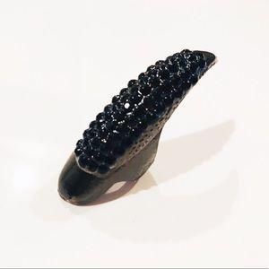Claw nail ring fashion black rhinestone sz 7